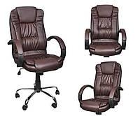Офисное кресло КОРИЧНЕВОЕ эко кожа Кресло руководителя Крісло офісне Компютерне крісло Стул офисный ПОЛЬША