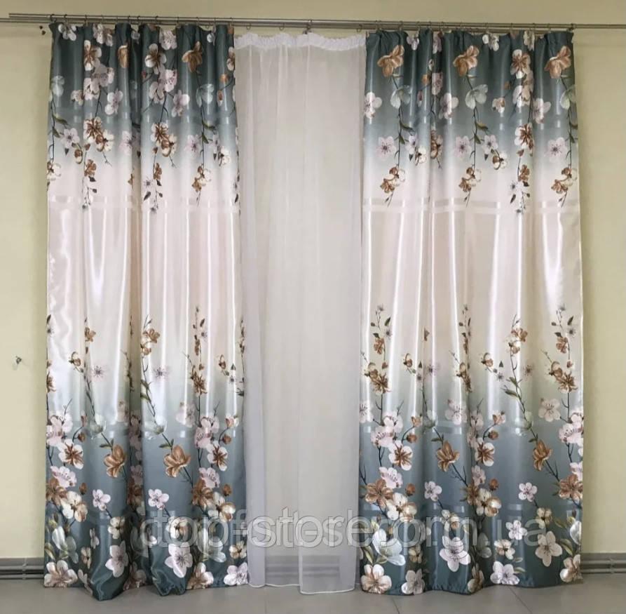 Готовий штори на вікно  Атласні штори в квіти