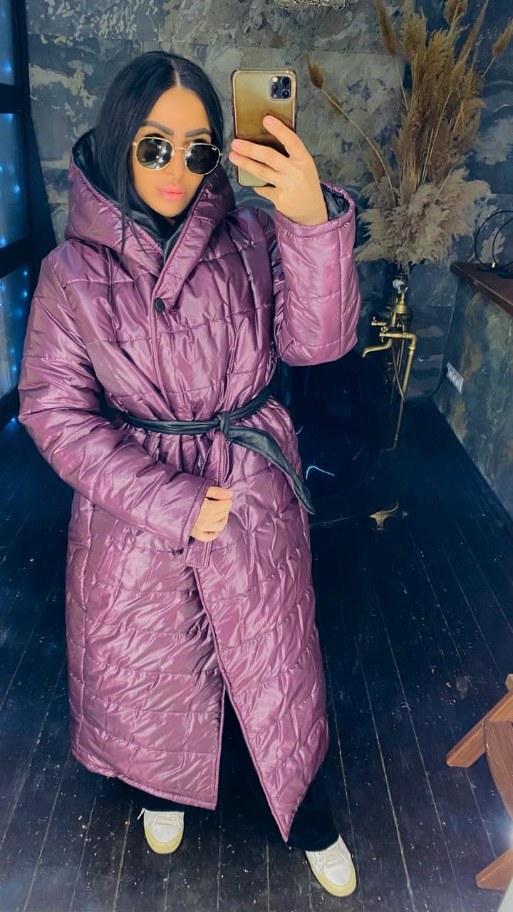 Модное женское зимнее непромокаемая длинное пальто-куртка с капюшоном и пояском