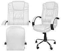 Офісне крісло ЕКО ШКІРА Офисное кресло Компьютерное кресло БЕЛОЕ Malatec 8984 Компютерне крісло БІЛЕ Стул