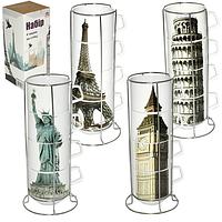 "Чашки на стойке ""Города"" набор 4 шт. (360 мл.), фото 1"