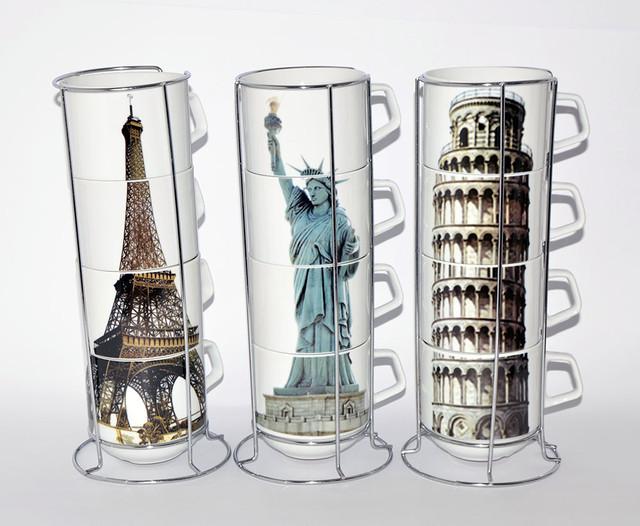 "Чашки на стойке ""Города"" набор 4 шт. (360 мл.)"