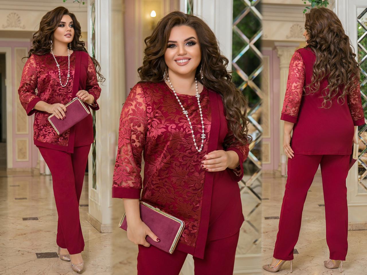 Гарний жіночий ошатний костюм: подовжена блуза з вишивкою і штани, батал великі розміри