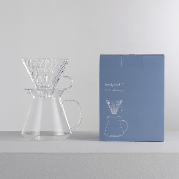 Набор HARIO V60 GLASS, графин 600 мл, стеклянный пуровер 02, мерная ложка, 40 фильтров