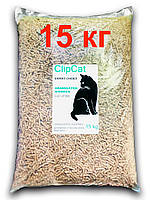 Древесный наполнитель для кошачьего туалета TM ClipCat 15 кг