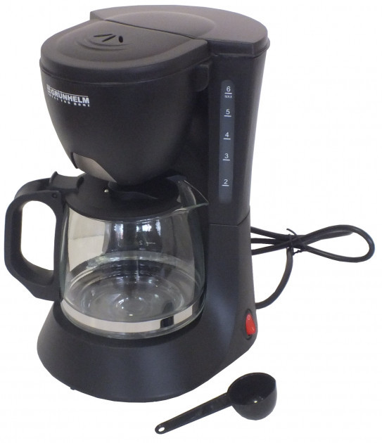 Капельная кофеварка Grunhelm GDC-06 с мощностью 0,6 кВт и объемом отсека 0,6 л