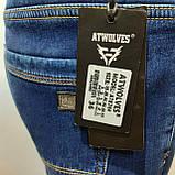 Зимние мужские джинсы (Большие размеры) Atwolves с высокой посадкой, фото 8