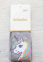 Детские колготки для девочки хлопчатобумажные katamino Турция K30091 Серый с единорогом хб весенняя осенняя