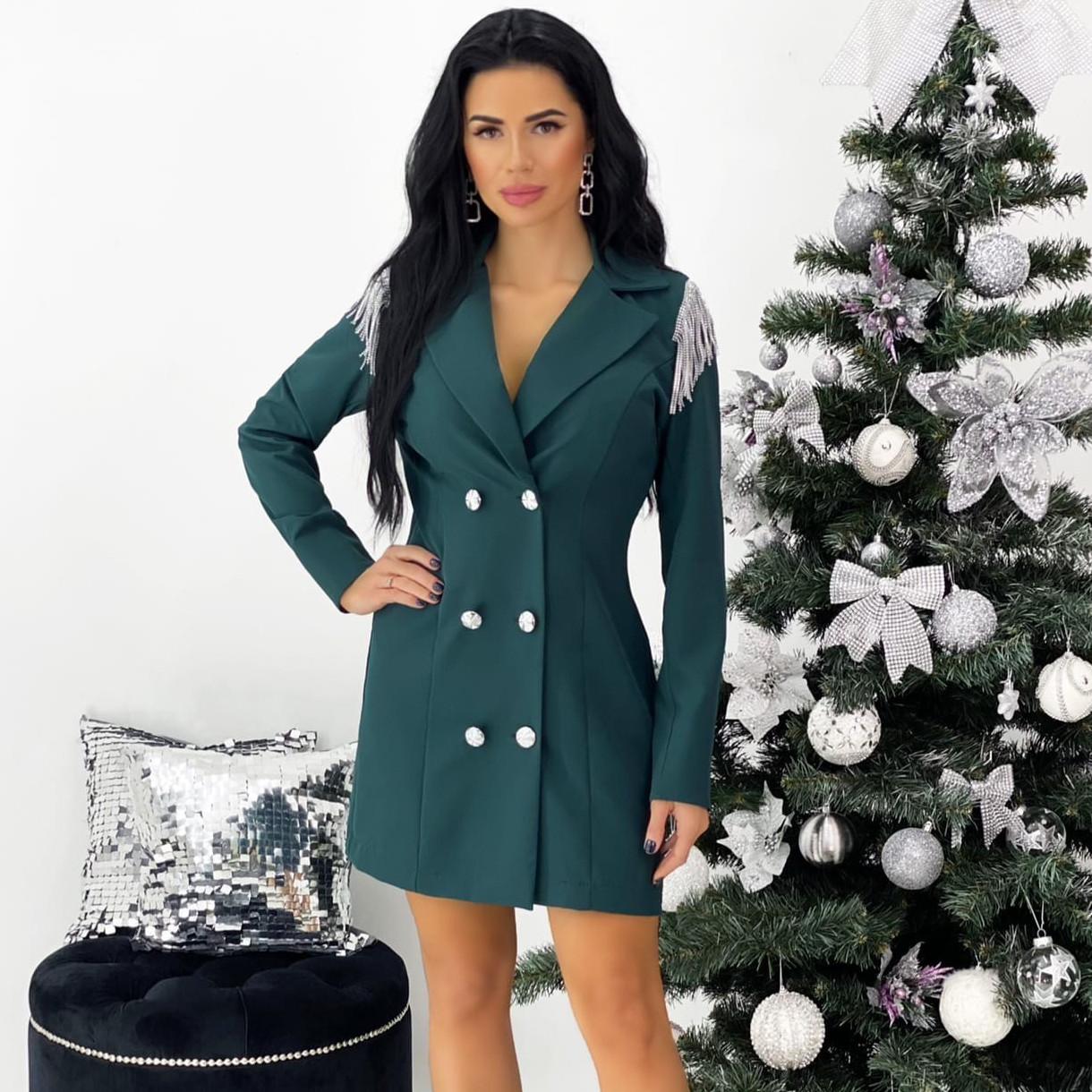Бутылочное платье-пиджак с плечиками