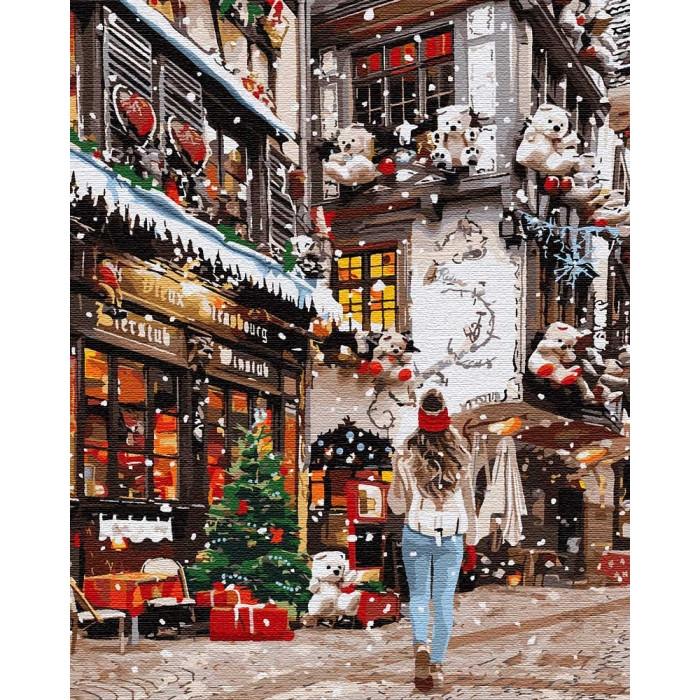 Картина по номерам - Гуляя новогодними улочками Идейка 40*50 см. (КНО3582)