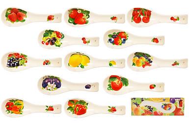 """Подставка под ложку керамика """"Овощи, Ягоды"""" Микс 23см в подарочной упаковке"""