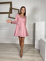 Жіноче плаття стильне із замші з поясом та кнопками (Норма), фото 4