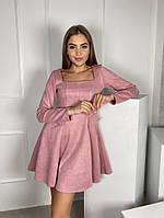 Жіноче плаття стильне із замші з поясом та кнопками (Норма), фото 6