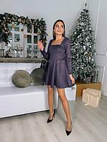 Жіноче плаття стильне із замші з поясом та кнопками (Норма), фото 7