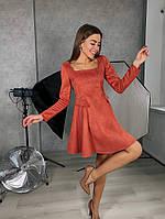 Жіноче плаття стильне із замші з поясом та кнопками (Норма), фото 8