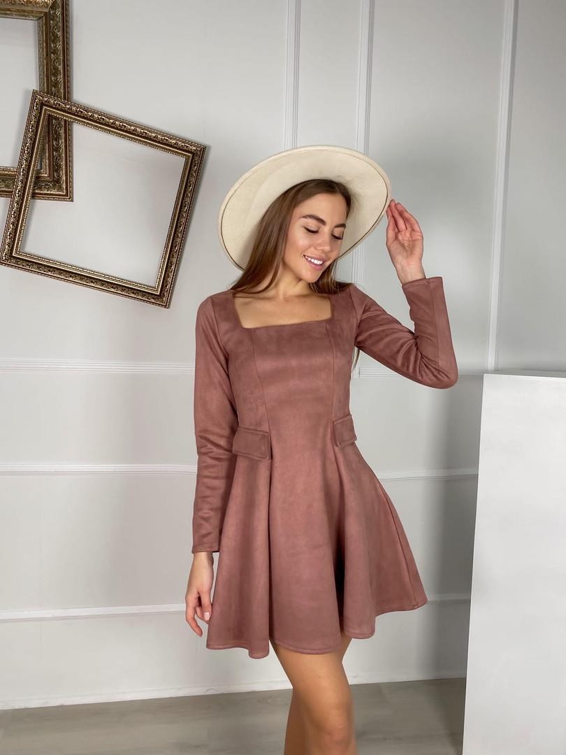 Жіноче плаття стильне із замші з поясом та кнопками (Норма)