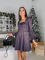 Жіноче плаття стильне із замші з поясом та кнопками (Норма), фото 9