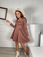 Жіноче плаття стильне із замші з поясом та кнопками (Норма), фото 10