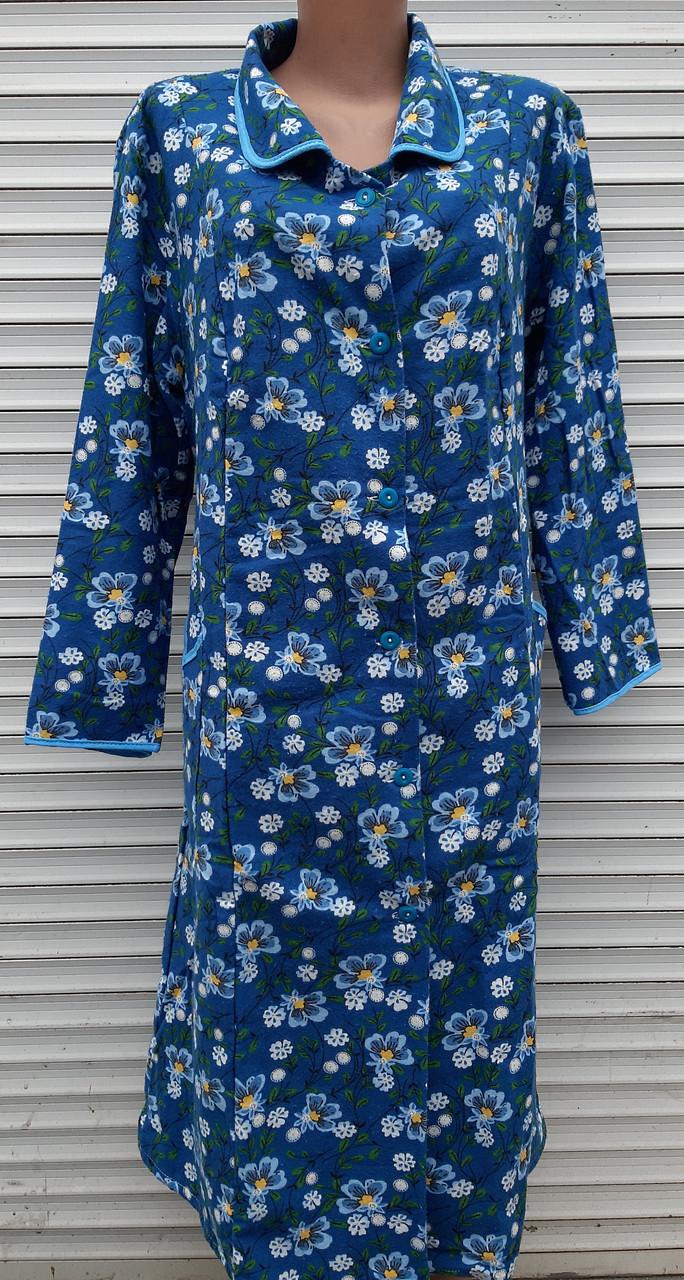 Теплый фланелевый халат 54 размер Синие маки
