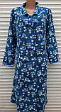 Теплый фланелевый халат 54 размер Синие маки, фото 2
