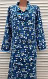 Теплый фланелевый халат 54 размер Синие маки, фото 3