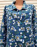 Теплый фланелевый халат 54 размер Синие маки, фото 5