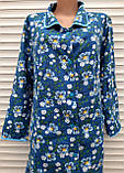Теплый фланелевый халат 54 размер Синие маки, фото 6