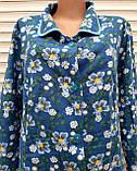 Теплый фланелевый халат 54 размер Синие маки, фото 7