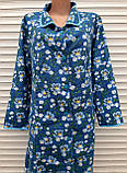 Теплый фланелевый халат 54 размер Синие маки, фото 8