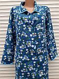 Теплый фланелевый халат 54 размер Синие маки, фото 9