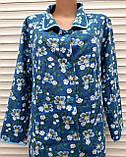 Теплый фланелевый халат 54 размер Синие маки, фото 10