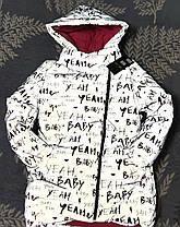 Детская теплая зимняя куртка для девочки рефлективная светоотражающая на зиму серая буквы 9-10 лет, фото 3