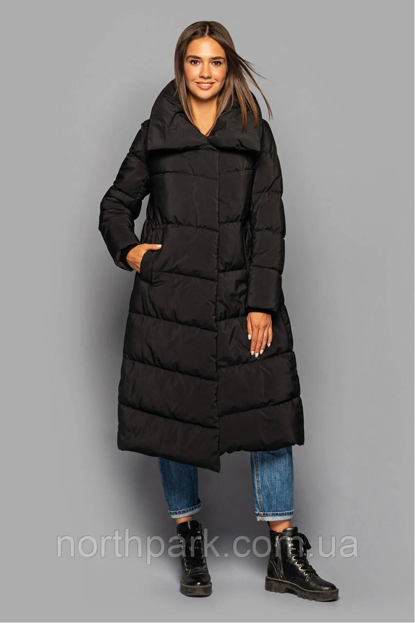 Асиметричне зимове пальто KTL-359 з прихованим капюшоном