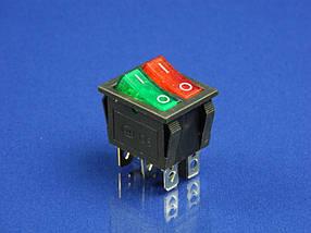 Кнопка двойная, красная/зеленая, 6 контактов  KCD6 (250V, 15A)
