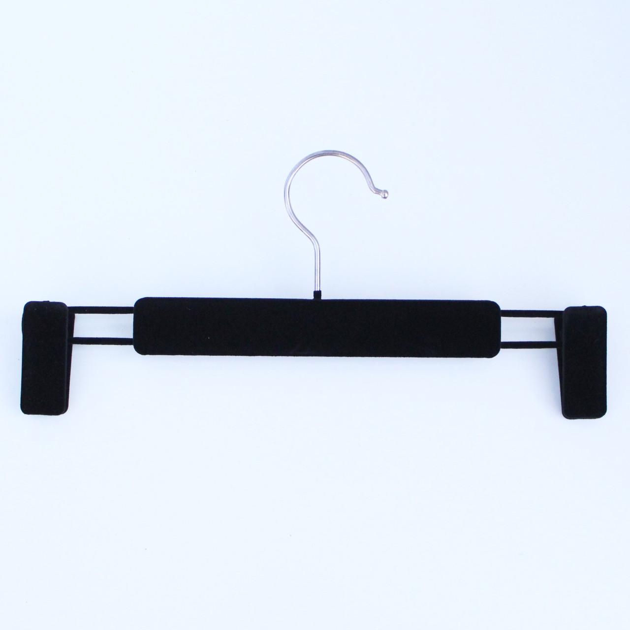 Вешалка тремпель бархатная брючная с прищепками черная, 33 см