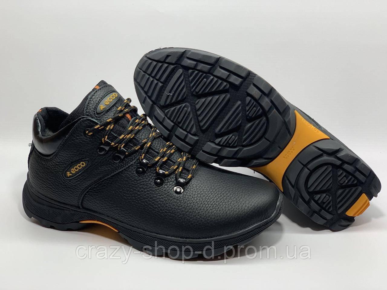 Зимние кожаные мужские ботинки в стиле Ecco чёрные
