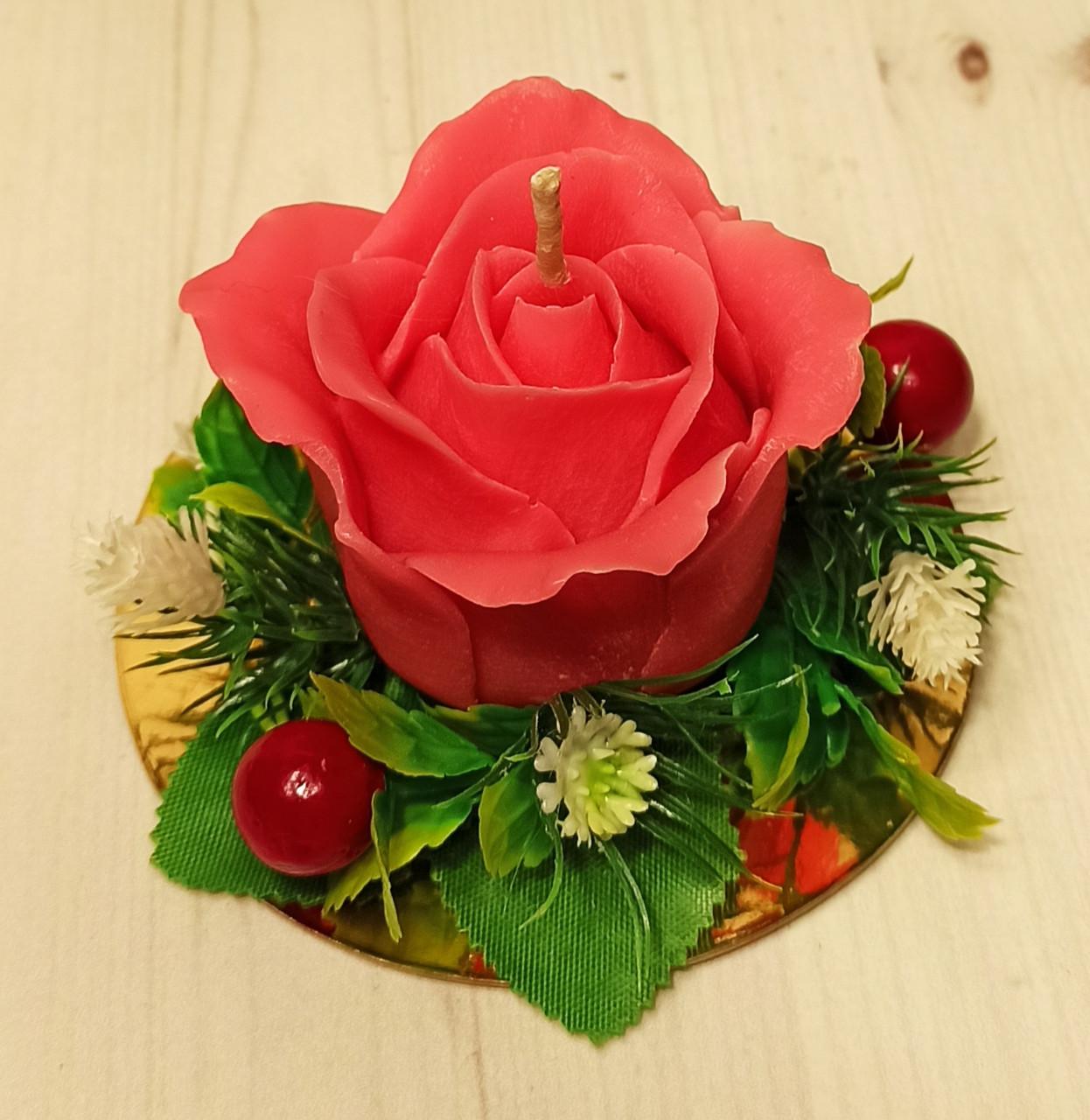 """Свеча ручной работы """"Роза большая красная"""""""