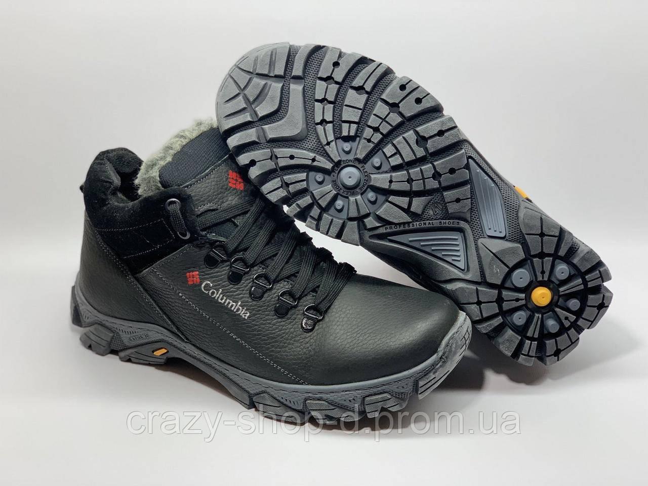 Зимние мужские кожаные ботинки в стиле Коламбия Columbia чёрные на шнуровке