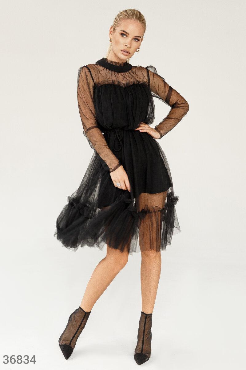 Короткий повітряне плаття з сітки