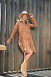 Свободное платье-трапеция с многоярусной юбкой бежевое, фото 2