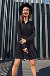 Свободное платье-трапеция с многоярусной юбкой черное, фото 2