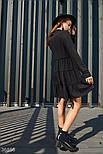 Свободное платье-трапеция с многоярусной юбкой черное, фото 5
