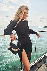 Облегающее платье с высоким боковым разрезом черное