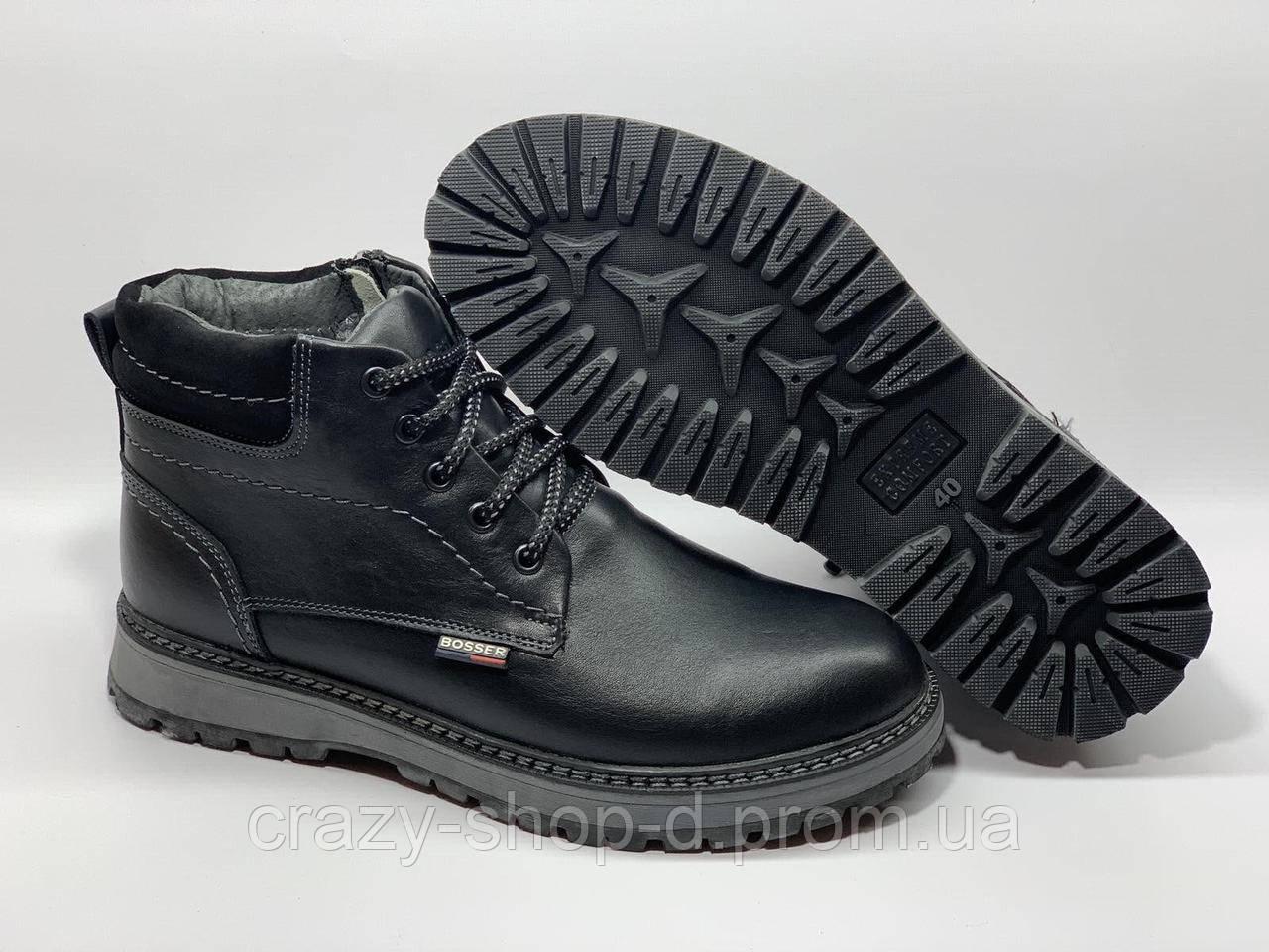 Мужские зимние кожаные ботинки черные на шнуровке классика