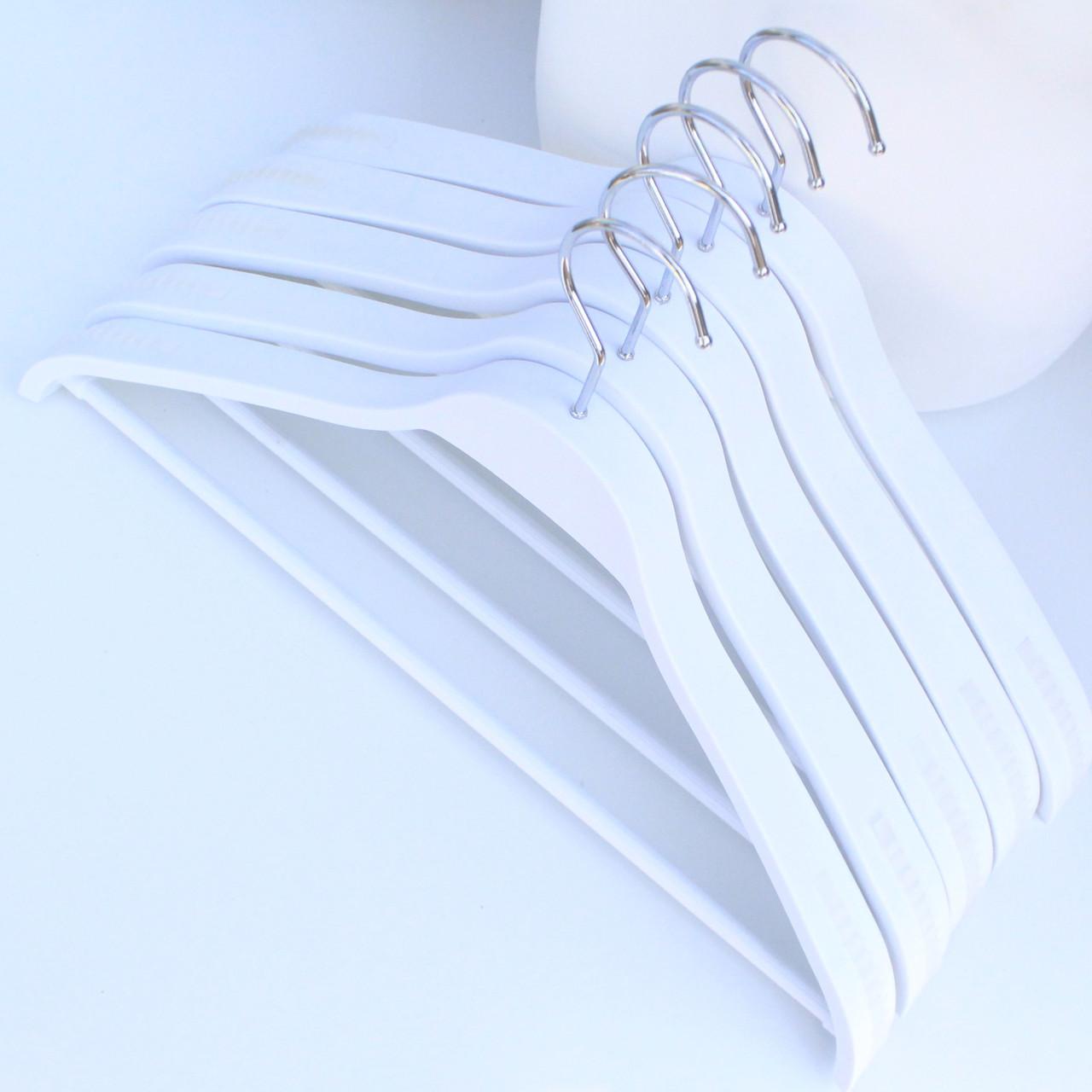 Белые плечики вешалки тремпеля для костюмов, пиджаков, верхней одежды, пальто, трикотажа, 44 см