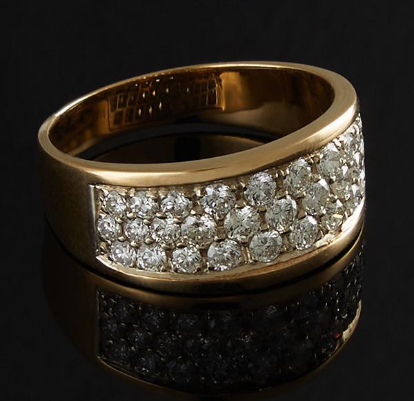 Золотое кольцо с бриллиантами С44Л1№1