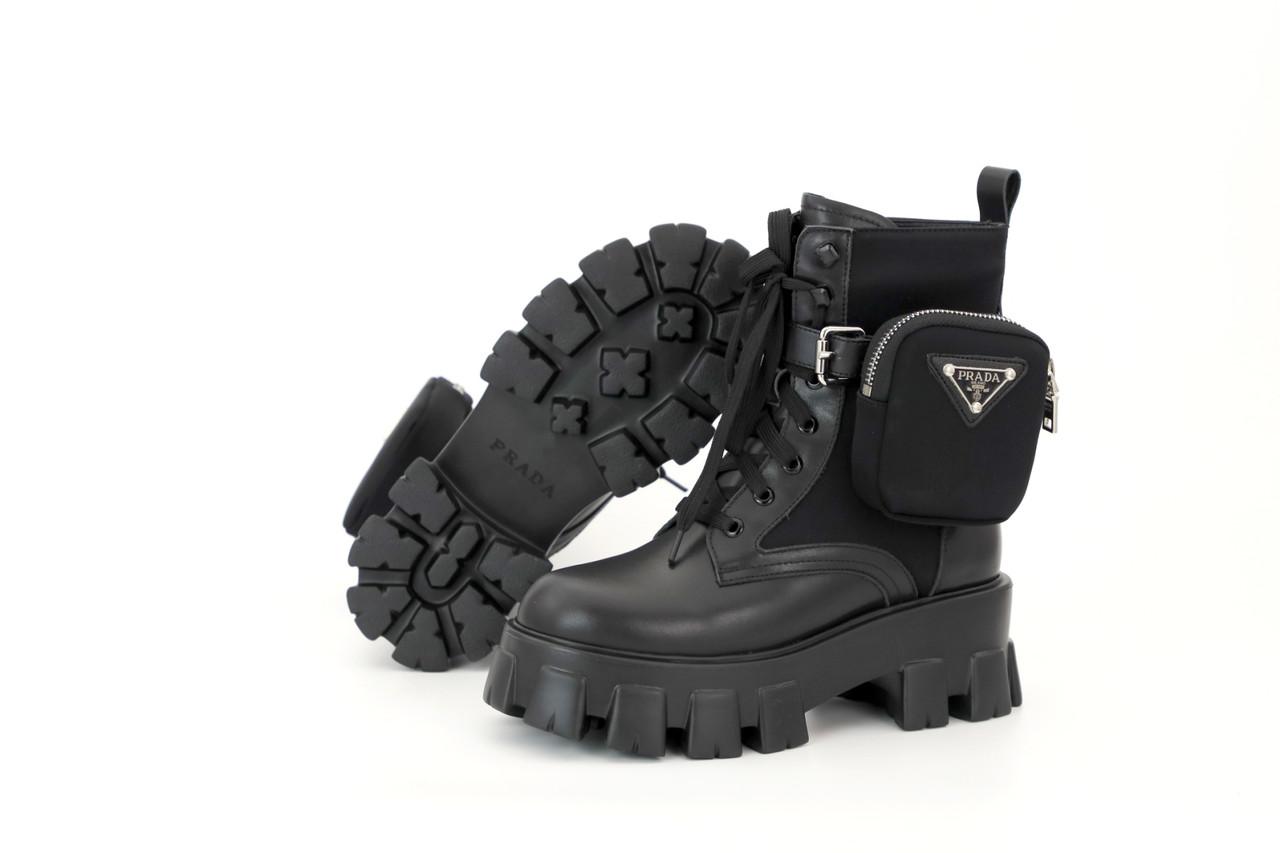 Зимние женские ботинки PRADA Monolith. ТОП Реплика ААА класса.