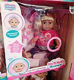Кукла с волосами Сестра Беби Борн 915 B, шарнирные ноги, звук, 46 см, сумочка, туфли, заколочки, фото 2