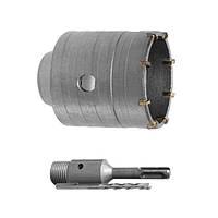 Комплект: сверло корончатое по бетону 75 мм+Переходник SDS Plus 100 мм Intertool SD—7075
