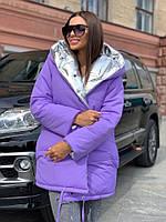 Жіноча зимове двостороння куртка на силіконі, фото 2